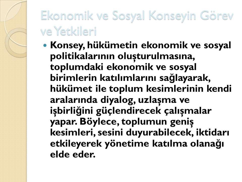 Ekonomik ve Sosyal Konseyin Görev ve Yetkileri Konsey, hükümetin ekonomik ve sosyal politikalarının oluşturulmasına, toplumdaki ekonomik ve sosyal bir