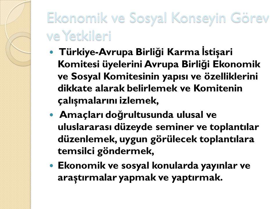Ekonomik ve Sosyal Konseyin Görev ve Yetkileri Türkiye-Avrupa Birli ğ i Karma İ stişari Komitesi üyelerini Avrupa Birli ğ i Ekonomik ve Sosyal Komites