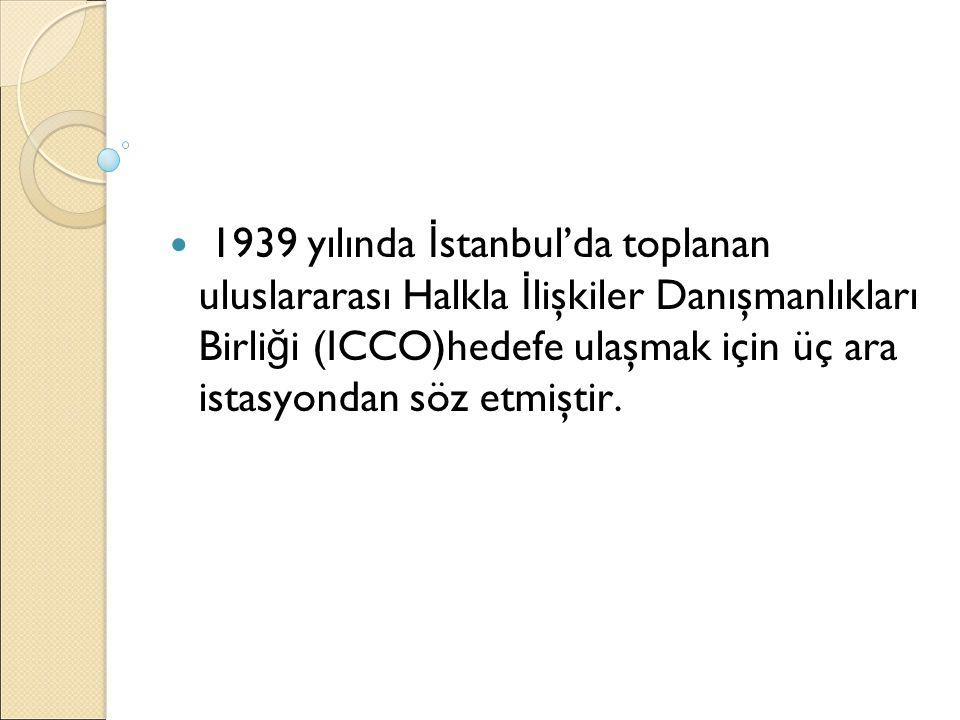 1939 yılında İ stanbul'da toplanan uluslararası Halkla İ lişkiler Danışmanlıkları Birli ğ i (ICCO)hedefe ulaşmak için üç ara istasyondan söz etmiştir.