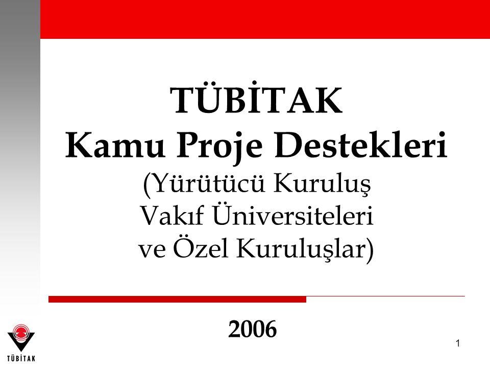 1 TÜBİTAK Kamu Proje Destekleri (Yürütücü Kuruluş Vakıf Üniversiteleri ve Özel Kuruluşlar) 2006