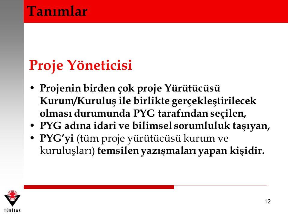 12 Proje Yöneticisi Projenin birden çok proje Yürütücüsü Kurum/Kuruluş ile birlikte gerçekleştirilecek olması durumunda PYG tarafından seçilen, PYG ad