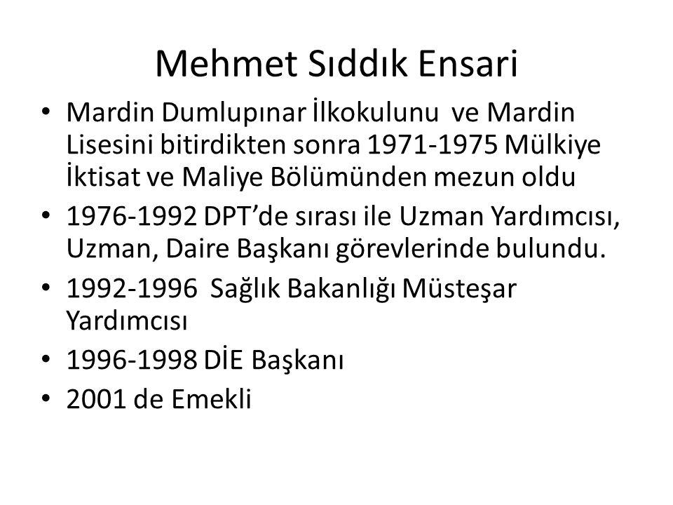 Mehmet Sıddık Ensari Mardin Dumlupınar İlkokulunu ve Mardin Lisesini bitirdikten sonra 1971-1975 Mülkiye İktisat ve Maliye Bölümünden mezun oldu 1976-1992 DPT'de sırası ile Uzman Yardımcısı, Uzman, Daire Başkanı görevlerinde bulundu.