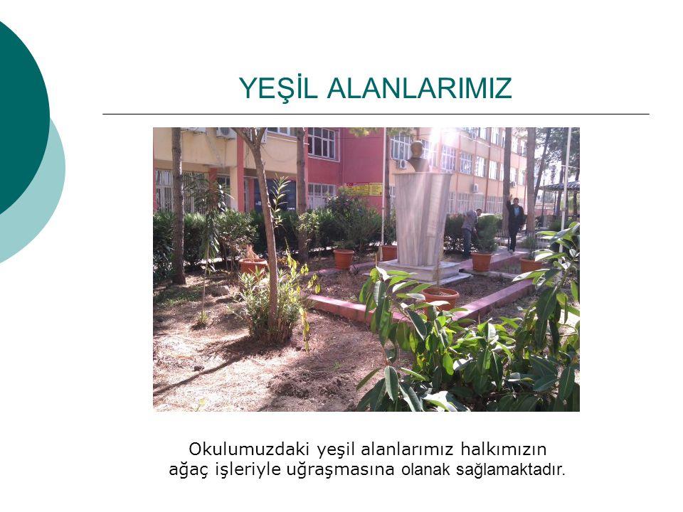 YEŞİL ALANLARIMIZ Okulumuzdaki yeşil alanlarımız halkımızın ağaç işleriyle uğraşmasına olanak sağlamaktadır.