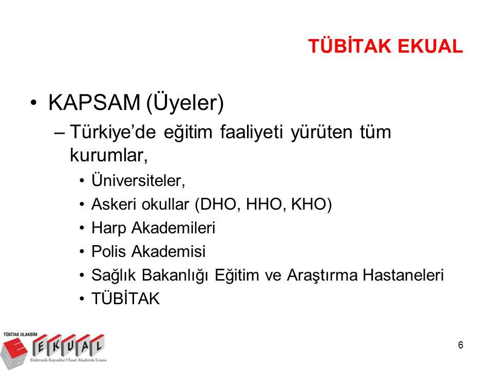 6 KAPSAM (Üyeler) –Türkiye'de eğitim faaliyeti yürüten tüm kurumlar, Üniversiteler, Askeri okullar (DHO, HHO, KHO) Harp Akademileri Polis Akademisi Sağlık Bakanlığı Eğitim ve Araştırma Hastaneleri TÜBİTAK TÜBİTAK EKUAL