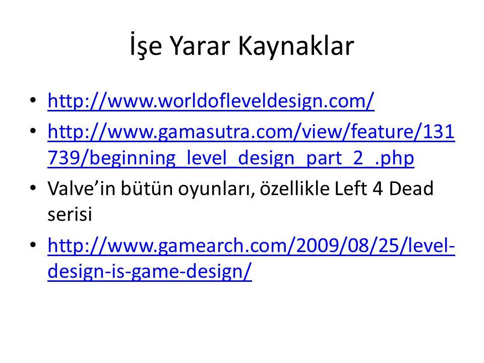 İşe Yarar Kaynaklar http://www.worldofleveldesign.com/ http://www.gamasutra.com/view/feature/131 739/beginning_level_design_part_2_.php http://www.gam