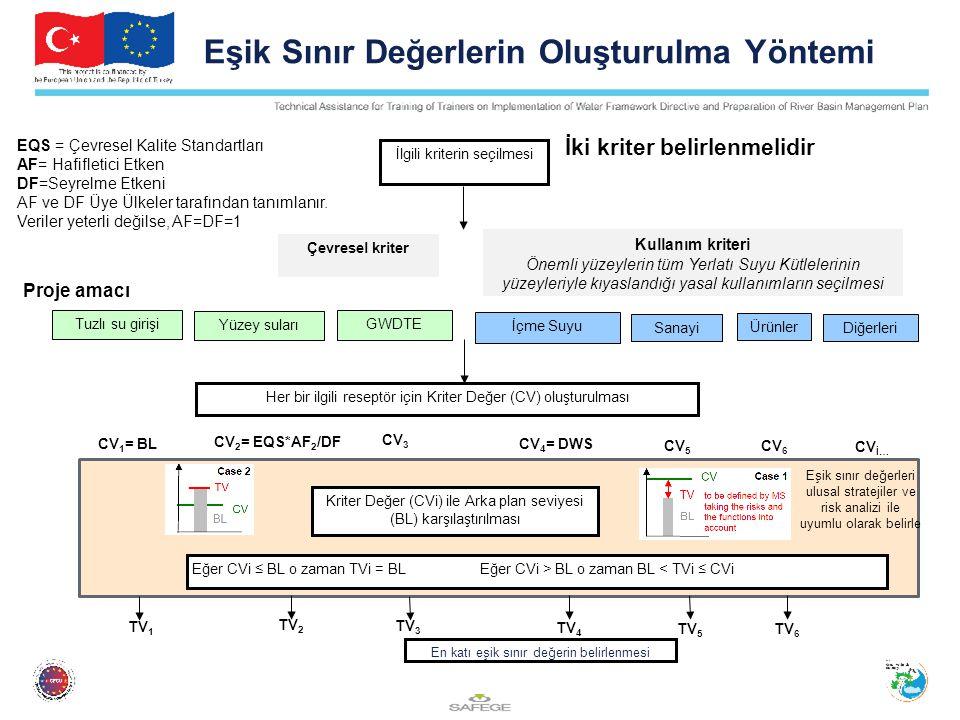 Diğerleri İlgili kriterin seçilmesi Çevresel kriter Kullanım kriteri Önemli yüzeylerin tüm Yerlatı Suyu Kütlelerinin yüzeyleriyle kıyaslandığı yasal kullanımların seçilmesi GWDTE İçme Suyu Sanayi Ürünler En katı eşik sınır değerin belirlenmesi Her bir ilgili reseptör için Kriter Değer (CV) oluşturulması CV 3 Kriter Değer (CVi) ile Arka plan seviyesi (BL) karşılaştırılması CV 2 = EQS*AF 2 /DF Eşik Sınır Değerlerin Oluşturulma Yöntemi İki kriter belirlenmelidir Proje amacı Yüzey suları Tuzlı su girişi CV 1 = BL CV 4 = DWS CV İ… CV 6 CV 5 Eğer CVi ≤ BL o zaman TVi = BL Eğer CVi > BL o zaman BL < TVi ≤ CVi TV 3 TV 2 TV 1 TV 4 TV 6 TV 5 EQS = Çevresel Kalite Standartları AF= Hafifletici Etken DF=Seyrelme Etkeni AF ve DF Üye Ülkeler tarafından tanımlanır.