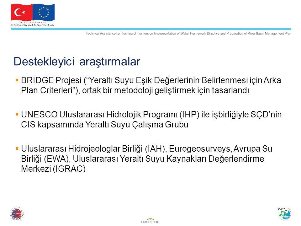 Destekleyici araştırmalar  BRIDGE Projesi ( Yeraltı Suyu Eşik Değerlerinin Belirlenmesi için Arka Plan Criterleri ), ortak bir metodoloji geliştirmek için tasarlandı  UNESCO Uluslararası Hidrolojik Programı (IHP) ile işbirliğiyle SÇD'nin CIS kapsamında Yeraltı Suyu Çalışma Grubu  Uluslararası Hidrojeologlar Birliği (IAH), Eurogeosurveys, Avrupa Su Birliği (EWA), Uluslararası Yeraltı Suyu Kaynakları Değerlendirme Merkezi (IGRAC)