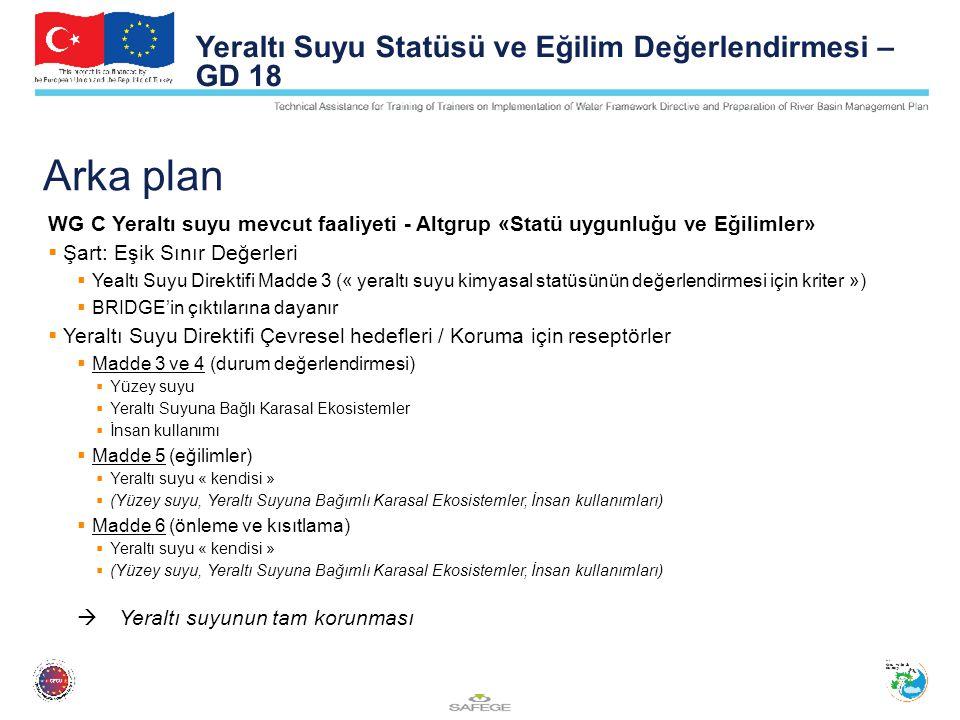 Arka plan WG C Yeraltı suyu mevcut faaliyeti - Altgrup «Statü uygunluğu ve Eğilimler»  Şart: Eşik Sınır Değerleri  Yealtı Suyu Direktifi Madde 3 (« yeraltı suyu kimyasal statüsünün değerlendirmesi için kriter »)  BRIDGE'in çıktılarına dayanır  Yeraltı Suyu Direktifi Çevresel hedefleri / Koruma için reseptörler  Madde 3 ve 4 (durum değerlendirmesi)  Yüzey suyu  Yeraltı Suyuna Bağlı Karasal Ekosistemler  İnsan kullanımı  Madde 5 (eğilimler)  Yeraltı suyu « kendisi »  (Yüzey suyu, Yeraltı Suyuna Bağımlı Karasal Ekosistemler, İnsan kullanımları)  Madde 6 (önleme ve kısıtlama)  Yeraltı suyu « kendisi »  (Yüzey suyu, Yeraltı Suyuna Bağımlı Karasal Ekosistemler, İnsan kullanımları)  Yeraltı suyunun tam korunması Yeraltı Suyu Statüsü ve Eğilim Değerlendirmesi – GD 18