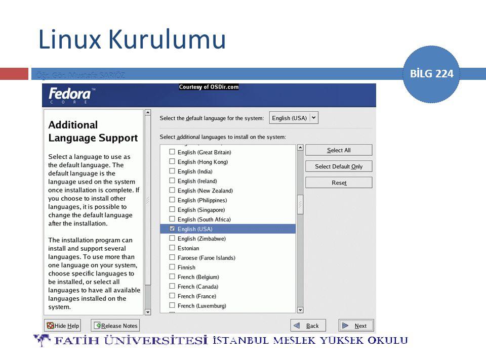 BİLG 224 Linux Kurulumu