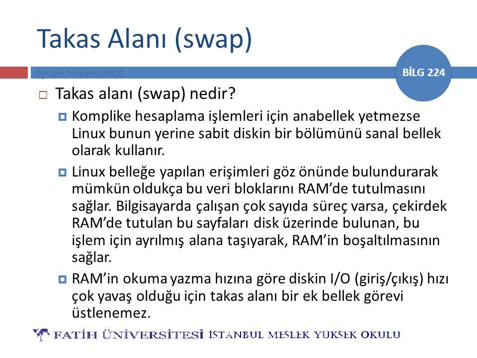 BİLG 224 Takas Alanı (swap)  Takas alanı (swap) nedir.