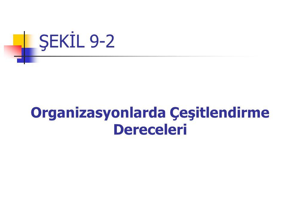ŞEKİL 9-2 Organizasyonlarda Çeşitlendirme Dereceleri