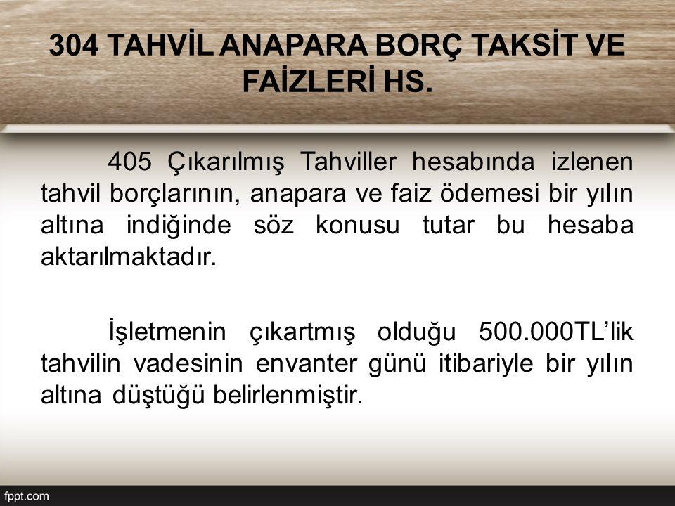 304 TAHVİL ANAPARA BORÇ TAKSİT VE FAİZLERİ HS.