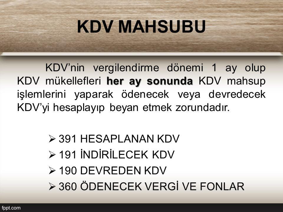 KDV MAHSUBU her ay sonunda KDV'nin vergilendirme dönemi 1 ay olup KDV mükellefleri her ay sonunda KDV mahsup işlemlerini yaparak ödenecek veya devredecek KDV'yi hesaplayıp beyan etmek zorundadır.