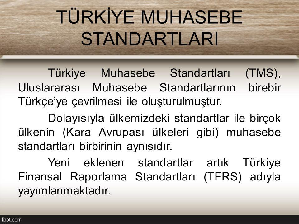 TÜRKİYE MUHASEBE STANDARTLARI Türkiye Muhasebe Standartları (TMS), Uluslararası Muhasebe Standartlarının birebir Türkçe'ye çevrilmesi ile oluşturulmuştur.