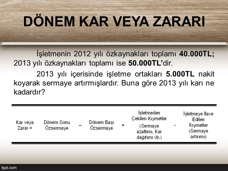 DÖNEM KAR VEYA ZARARI 40.000TL; 50.000TL' İşletmenin 2012 yılı özkaynakları toplamı 40.000TL; 2013 yılı özkaynakları toplamı ise 50.000TL'dir.