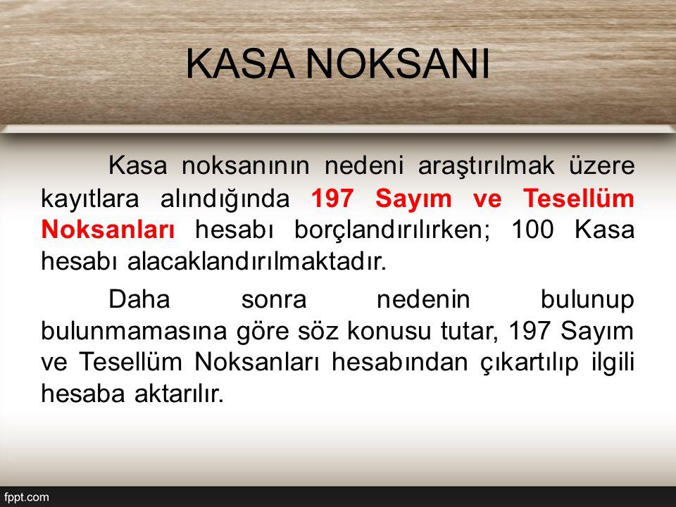 KASA NOKSANI Kasa noksanının nedeni araştırılmak üzere kayıtlara alındığında 197 Sayım ve Tesellüm Noksanları hesabı borçlandırılırken; 100 Kasa hesabı alacaklandırılmaktadır.