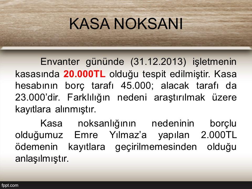 KASA NOKSANI Envanter gününde (31.12.2013) işletmenin kasasında 20.000TL olduğu tespit edilmiştir.