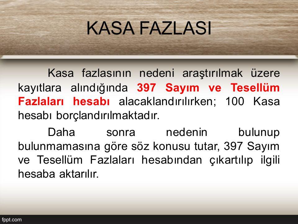 KASA FAZLASI Kasa fazlasının nedeni araştırılmak üzere kayıtlara alındığında 397 Sayım ve Tesellüm Fazlaları hesabı alacaklandırılırken; 100 Kasa hesabı borçlandırılmaktadır.
