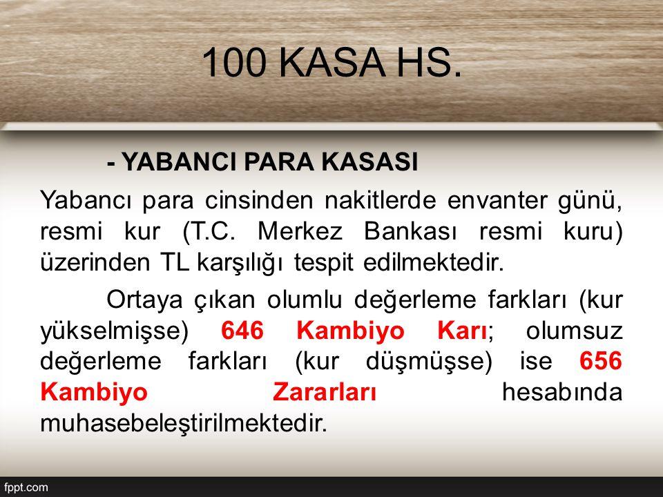 100 KASA HS.- YABANCI PARA KASASI Yabancı para cinsinden nakitlerde envanter günü, resmi kur (T.C.