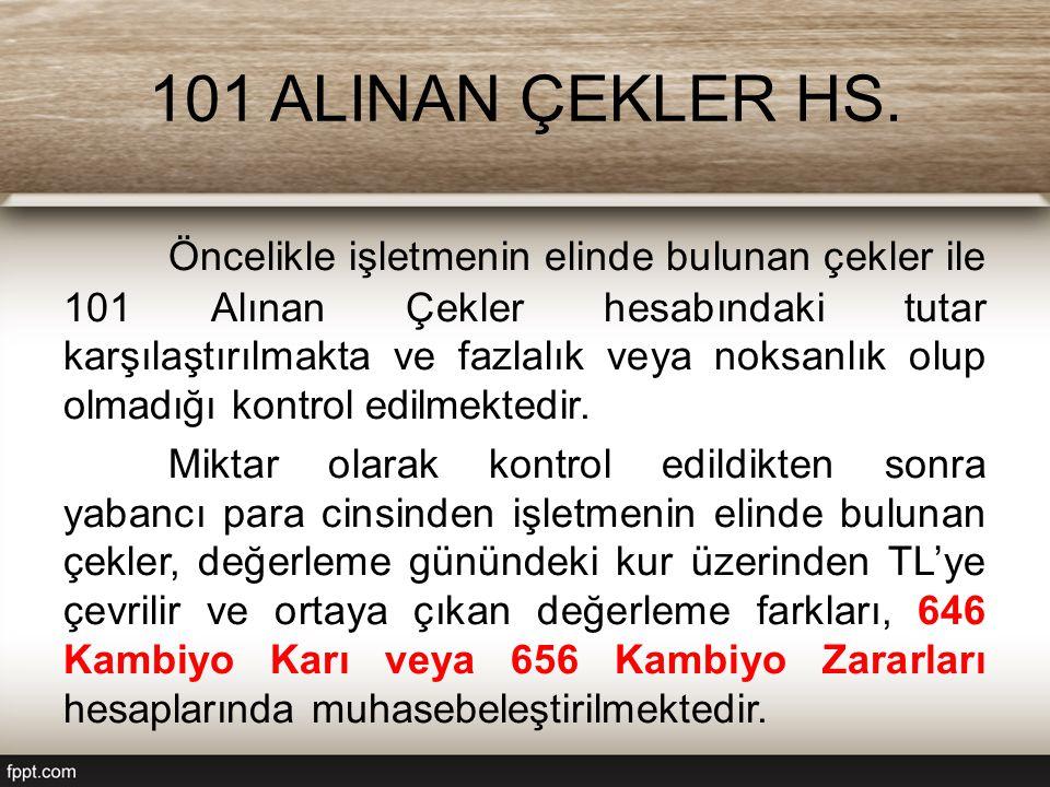 101 ALINAN ÇEKLER HS.