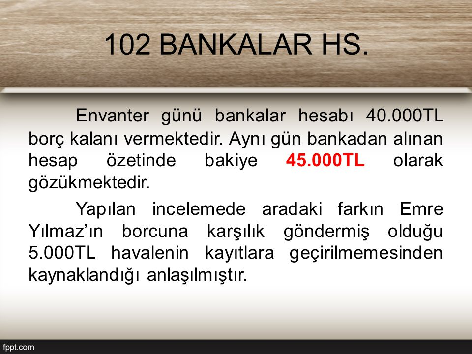 102 BANKALAR HS.Envanter günü bankalar hesabı 40.000TL borç kalanı vermektedir.