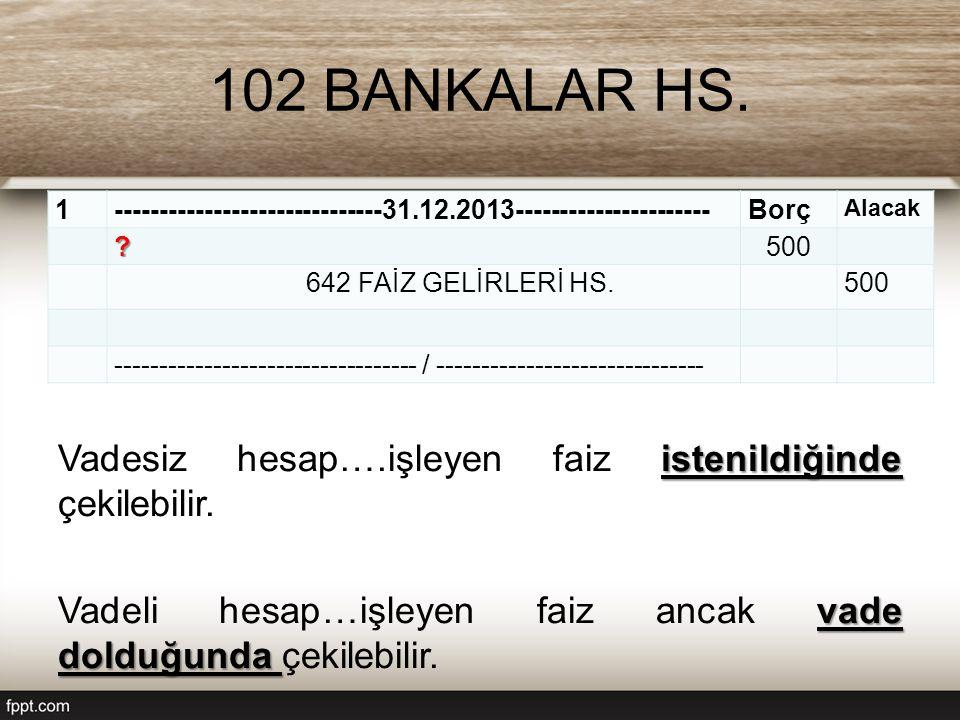 102 BANKALAR HS.istenildiğinde Vadesiz hesap….işleyen faiz istenildiğinde çekilebilir.