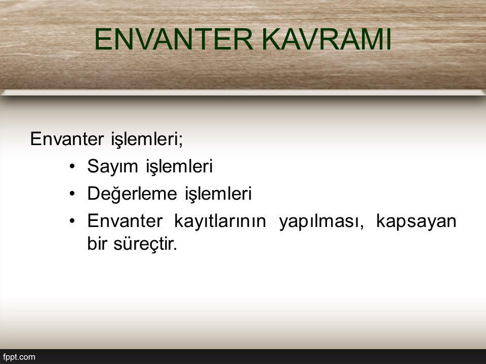 ENVANTER KAVRAMI Envanter işlemleri; Sayım işlemleri Değerleme işlemleri Envanter kayıtlarının yapılması, kapsayan bir süreçtir.