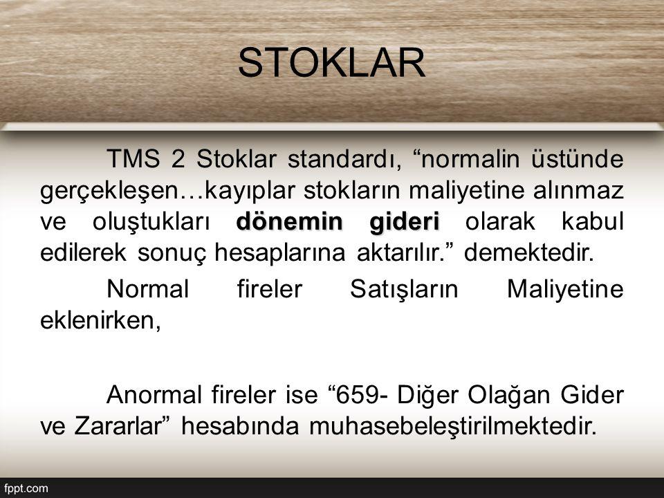 STOKLAR dönemin gideri TMS 2 Stoklar standardı, normalin üstünde gerçekleşen…kayıplar stokların maliyetine alınmaz ve oluştukları dönemin gideri olarak kabul edilerek sonuç hesaplarına aktarılır. demektedir.