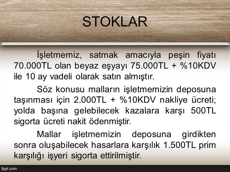 STOKLAR İşletmemiz, satmak amacıyla peşin fiyatı 70.000TL olan beyaz eşyayı 75.000TL + %10KDV ile 10 ay vadeli olarak satın almıştır.