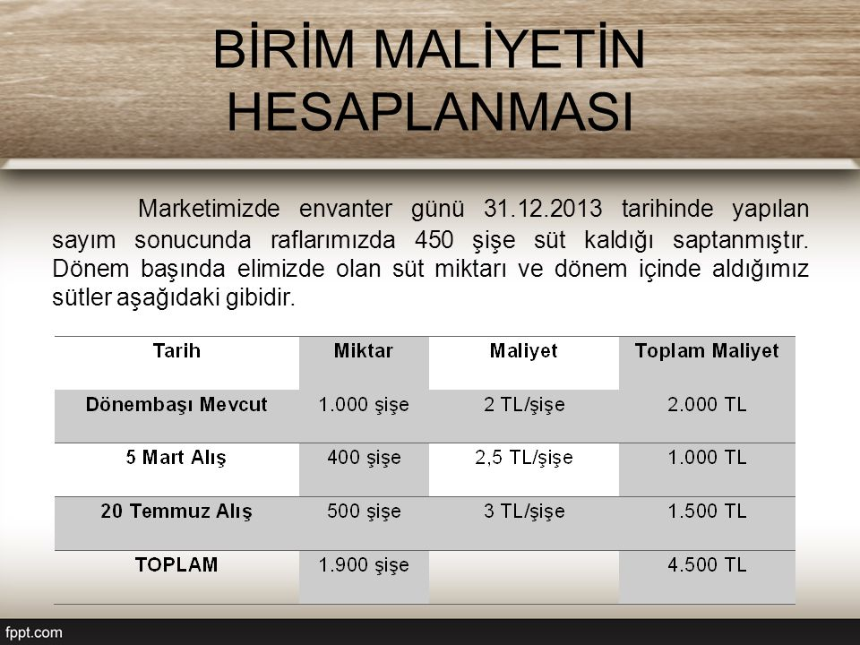 BİRİM MALİYETİN HESAPLANMASI Marketimizde envanter günü 31.12.2013 tarihinde yapılan sayım sonucunda raflarımızda 450 şişe süt kaldığı saptanmıştır.