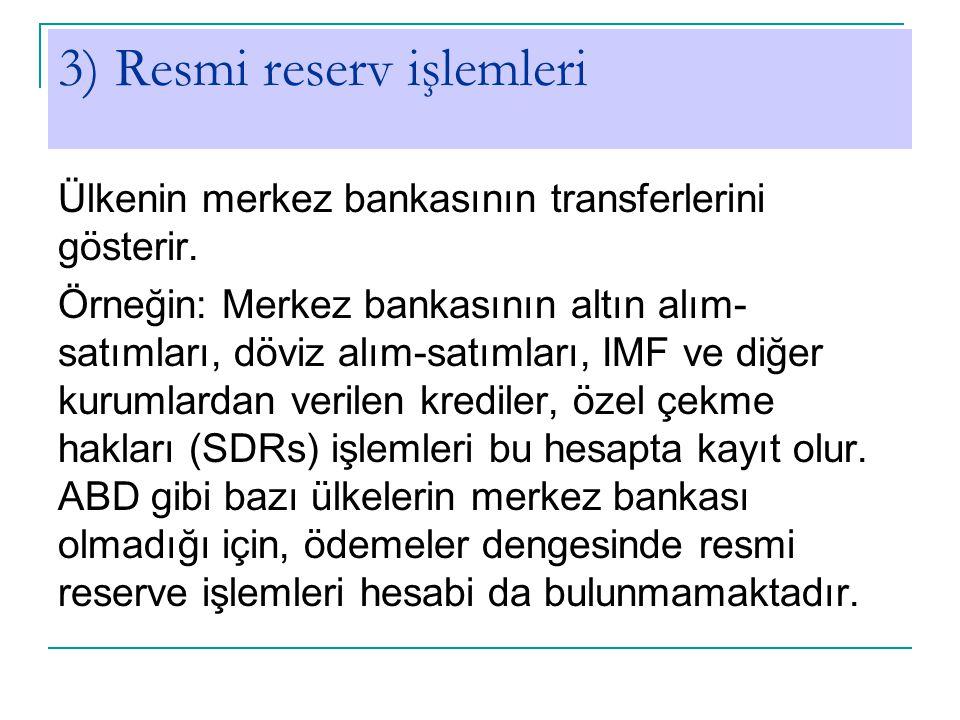 3) Resmi reserv işlemleri Ülkenin merkez bankasının transferlerini gösterir. Örneğin: Merkez bankasının altın alım- satımları, döviz alım-satımları, I