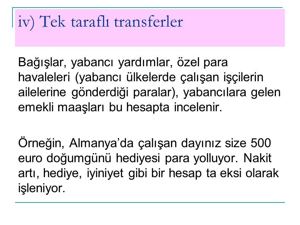 iv) Tek taraflı transferler Bağışlar, yabancı yardımlar, özel para havaleleri (yabancı ülkelerde çalışan işçilerin ailelerine gönderdiği paralar), yab