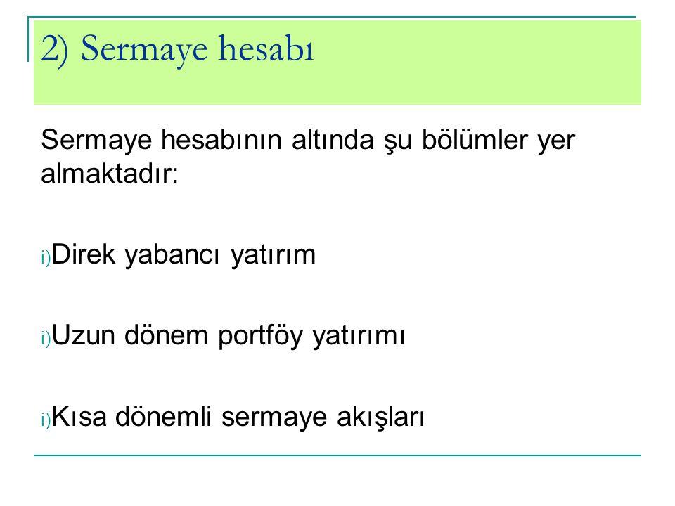 2) Sermaye hesabı Sermaye hesabının altında şu bölümler yer almaktadır: i) Direk yabancı yatırım i) Uzun dönem portföy yatırımı i) Kısa dönemli sermay