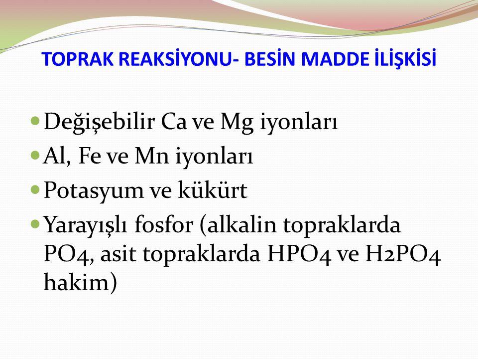 TOPRAK REAKSİYONU- BESİN MADDE İLİŞKİSİ Değişebilir Ca ve Mg iyonları Al, Fe ve Mn iyonları Potasyum ve kükürt Yarayışlı fosfor (alkalin topraklarda PO4, asit topraklarda HPO4 ve H2PO4 hakim)