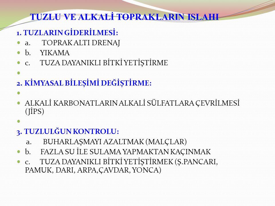 TUZLU VE ALKALİ TOPRAKLARIN ISLAHI 1.TUZLARIN GİDERİLMESİ: a.