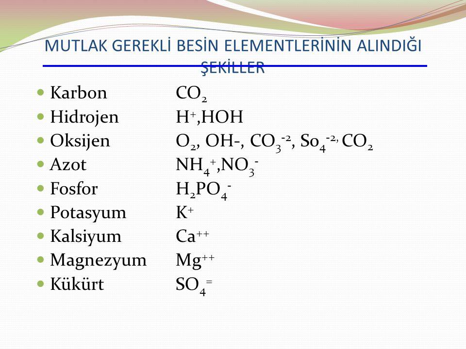 MUTLAK GEREKLİ BESİN ELEMENTLERİNİN ALINDIĞI ŞEKİLLER KarbonCO 2 HidrojenH +,HOH OksijenO 2, OH-, CO 3 -2, S0 4 -2, CO 2 AzotNH 4 +,NO 3 - FosforH 2 PO 4 - PotasyumK+K+ KalsiyumCa ++ MagnezyumMg ++ KükürtSO 4 =