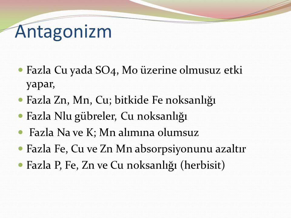 Antagonizm Fazla Cu yada SO4, Mo üzerine olmusuz etki yapar, Fazla Zn, Mn, Cu; bitkide Fe noksanlığı Fazla Nlu gübreler, Cu noksanlığı Fazla Na ve K; Mn alımına olumsuz Fazla Fe, Cu ve Zn Mn absorpsiyonunu azaltır Fazla P, Fe, Zn ve Cu noksanlığı (herbisit)