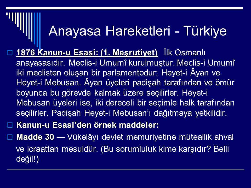 Anayasa Hareketleri - Türkiye  1876 Kanun-u Esasi: (1. Meşrutiyet)  1876 Kanun-u Esasi: (1. Meşrutiyet) İlk Osmanlı anayasasıdır. Meclis-i Umumî kur