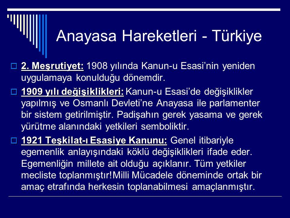 Anayasa Hareketleri - Türkiye  2. Meşrutiyet:  2. Meşrutiyet: 1908 yılında Kanun-u Esasi'nin yeniden uygulamaya konulduğu dönemdir.  1909 yılı deği
