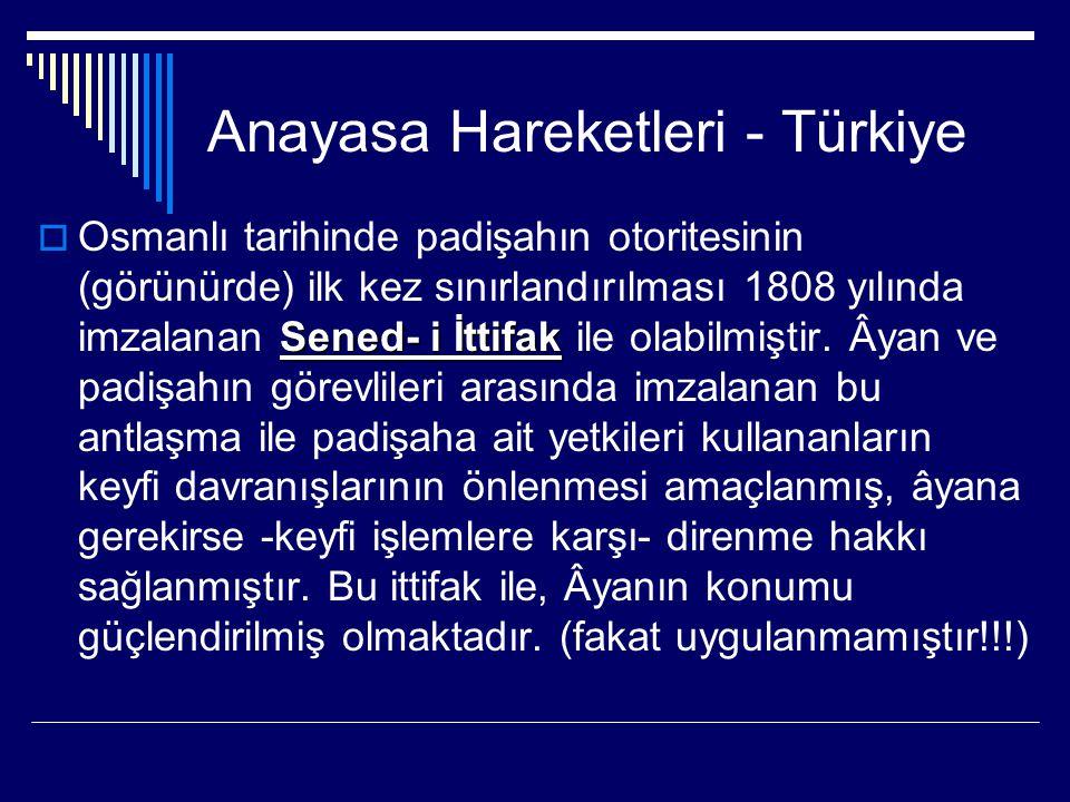 Anayasa Hareketleri - Türkiye Sened- i İttifak  Osmanlı tarihinde padişahın otoritesinin (görünürde) ilk kez sınırlandırılması 1808 yılında imzalanan