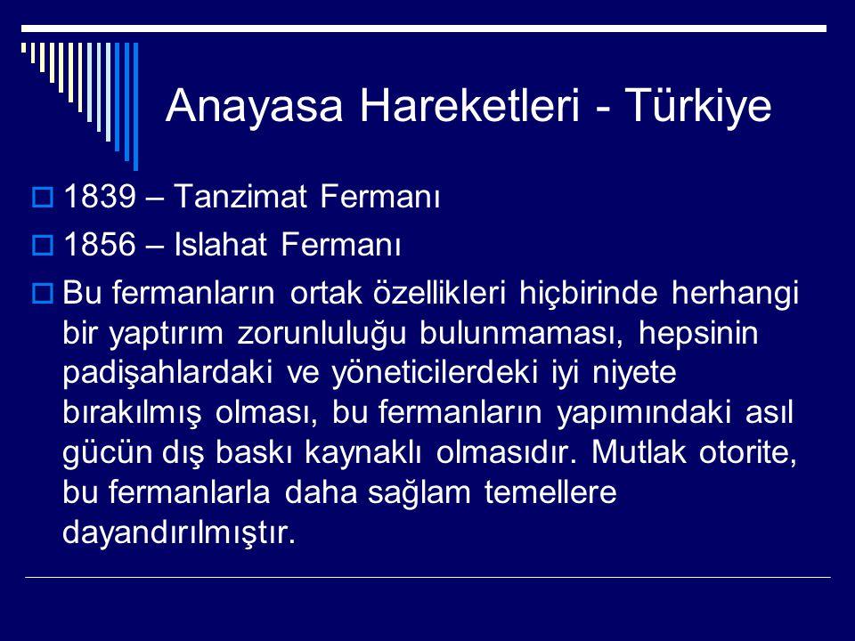 Anayasa Hareketleri - Türkiye  1839 – Tanzimat Fermanı  1856 – Islahat Fermanı  Bu fermanların ortak özellikleri hiçbirinde herhangi bir yaptırım z