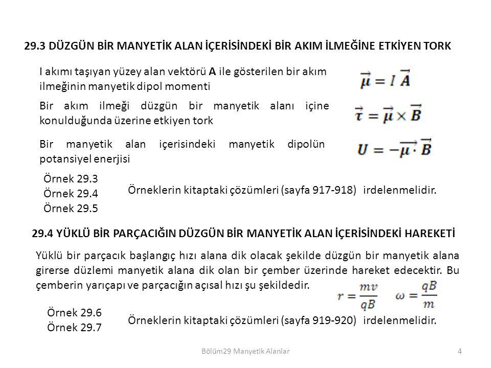 Bölüm29 Manyetik Alanlar4 Örnek 29.3 Örnek 29.4 Örnek 29.5 Örneklerin kitaptaki çözümleri (sayfa 917-918) irdelenmelidir. 29.3 DÜZGÜN BİR MANYETİK ALA