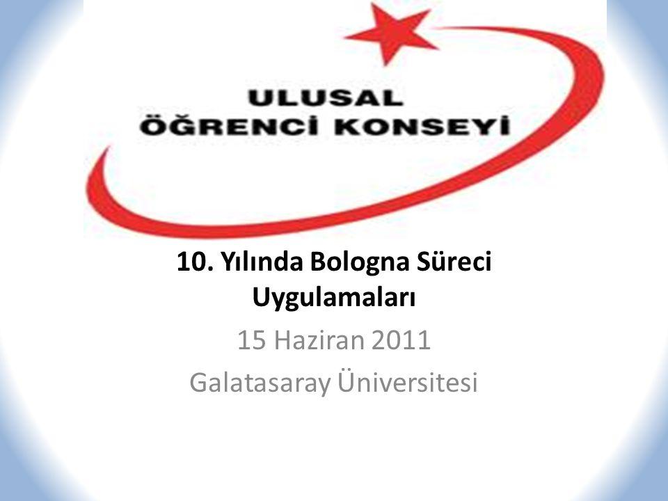 10. Yılında Bologna Süreci Uygulamaları 15 Haziran 2011 Galatasaray Üniversitesi