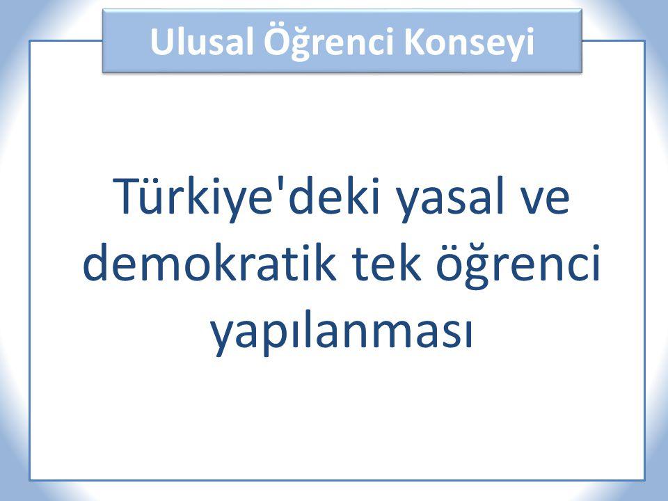 Ulusal Öğrenci Konseyi Türkiye deki yasal ve demokratik tek öğrenci yapılanması