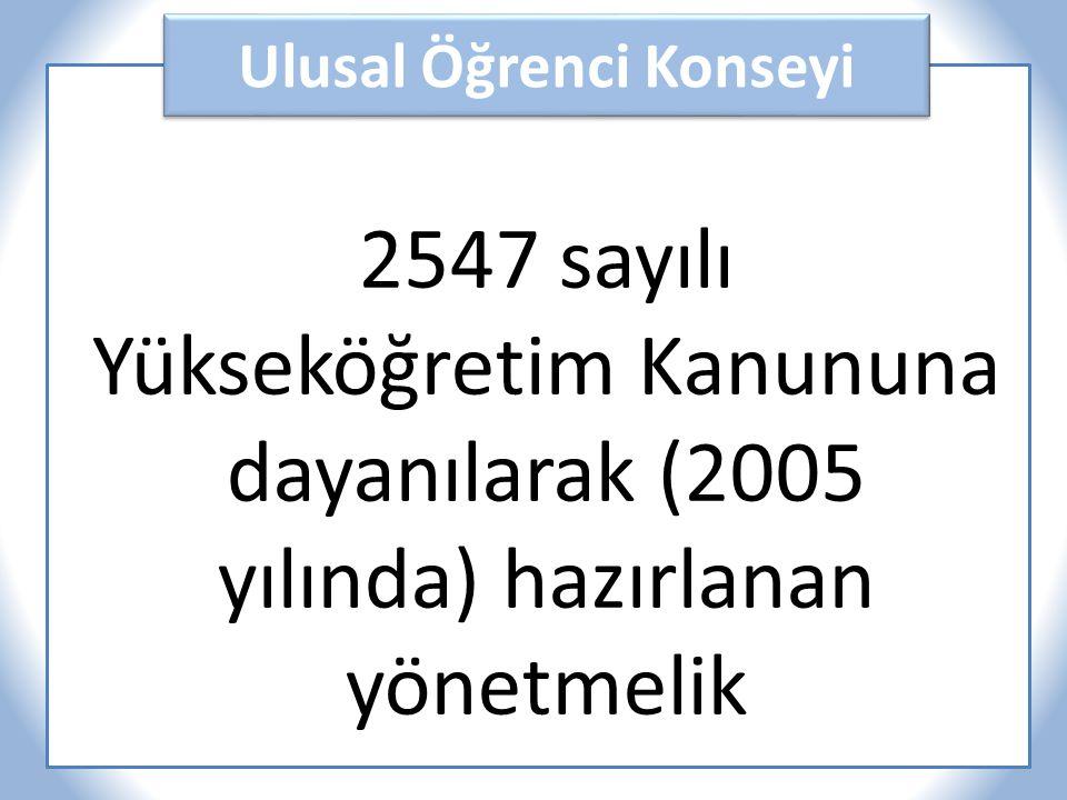 Ulusal Öğrenci Konseyi 2547 sayılı Yükseköğretim Kanununa dayanılarak (2005 yılında) hazırlanan yönetmelik