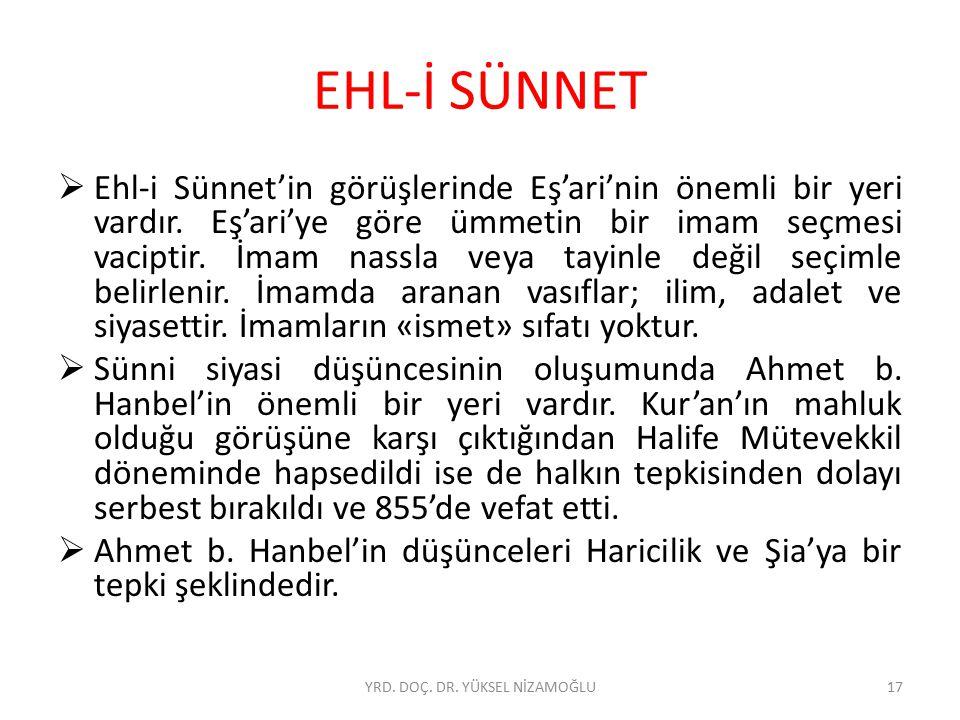 EHL-İ SÜNNET  Ehl-i Sünnet'in görüşlerinde Eş'ari'nin önemli bir yeri vardır. Eş'ari'ye göre ümmetin bir imam seçmesi vaciptir. İmam nassla veya tayi