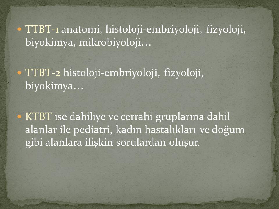 TTBT-1 anatomi, histoloji-embriyoloji, fizyoloji, biyokimya, mikrobiyoloji … TTBT-2 histoloji-embriyoloji, fizyoloji, biyokimya … KTBT ise dahiliye ve cerrahi gruplarına dahil alanlar ile pediatri, kadın hastalıkları ve doğum gibi alanlara ilişkin sorulardan oluşur.