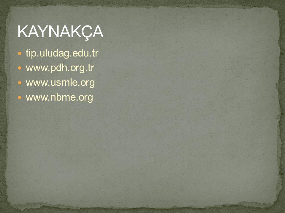 tip.uludag.edu.tr www.pdh.org.tr www.usmle.org www.nbme.org
