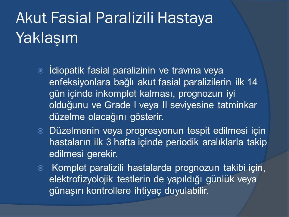 Akut Fasial Paralizili Hastaya Yaklaşım  İdiopatik fasial paralizinin ve travma veya enfeksiyonlara bağlı akut fasial paralizilerin ilk 14 gün içinde inkomplet kalması, prognozun iyi olduğunu ve Grade I veya II seviyesine tatminkar düzelme olacağını gösterir.