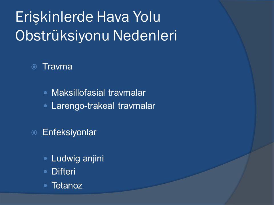 Erişkinlerde Hava Yolu Obstrüksiyonu Nedenleri  Travma Maksillofasial travmalar Larengo-trakeal travmalar  Enfeksiyonlar Ludwig anjini Difteri Tetanoz
